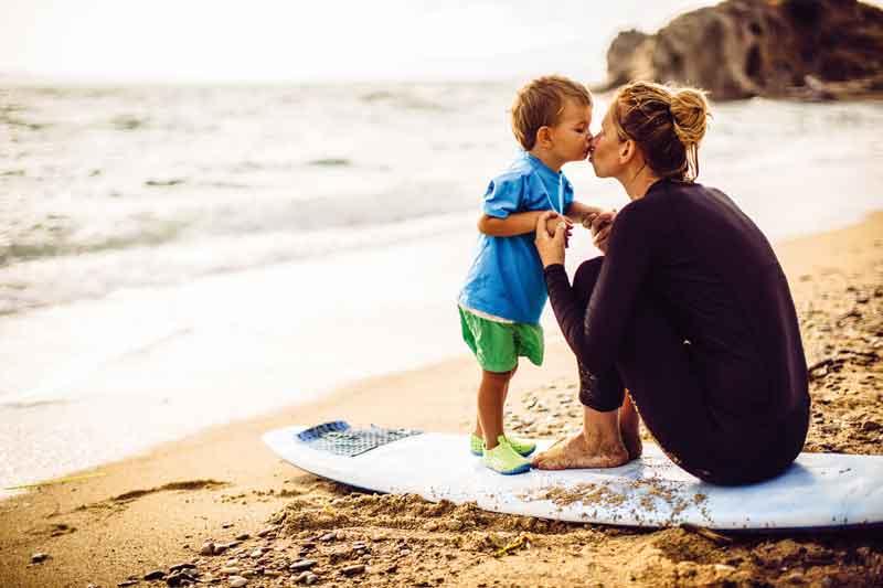 mum and son at beach